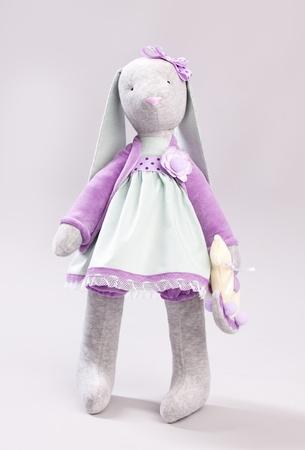 Soft toy rabbit. Doll handmade photo