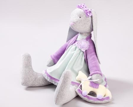 stuffed toys: Soft toy rabbit. Doll handmade Stock Photo