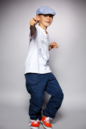 hip hop dance: Dancing boy. Fashion happy child Stock Photo