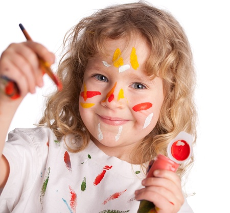 Littl child, drawing paint. Isolated on white Stock Photo - 14697884