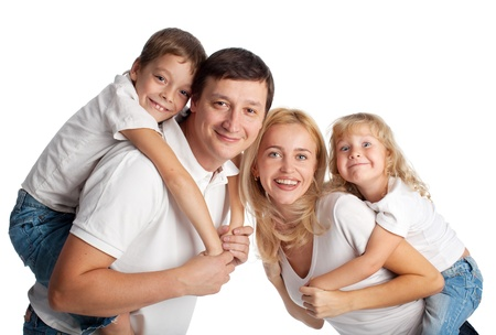 Family with two children on white background Stock Photo - 14697952