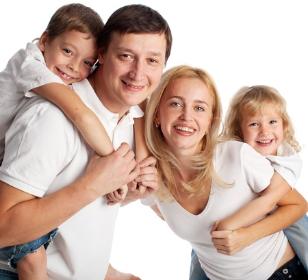 Family with two children on white background Stock Photo - 14697954