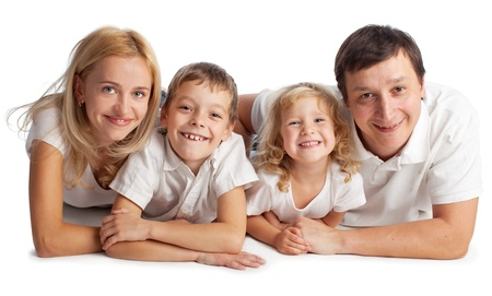 Family with two children on white background Stock Photo - 14697946
