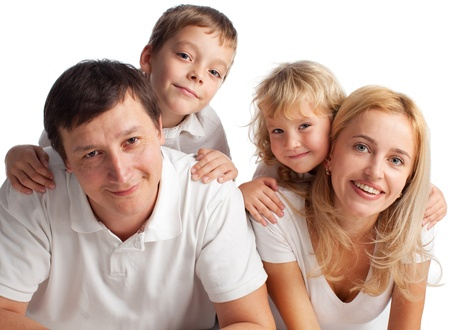 Family with two children on white background Stock Photo - 14697913