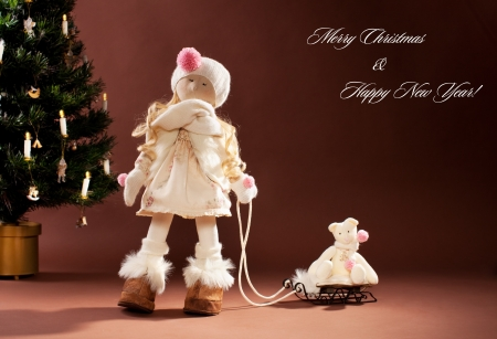 Christmas doll. Christmas postcards. Stock Photo - 14853583