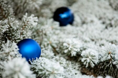 Christmas winter background. Ornaments ball Stock Photo - 14852675