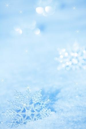 Winter background. Snowflakes on snow Stock Photo
