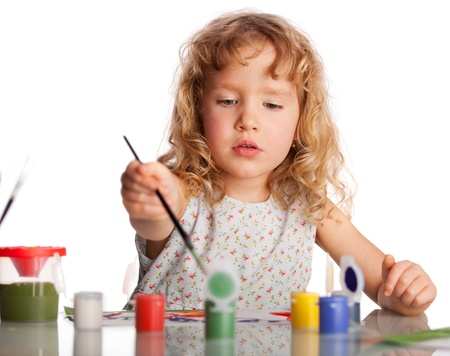children painting: Little child, drawing paint. Isolated on white