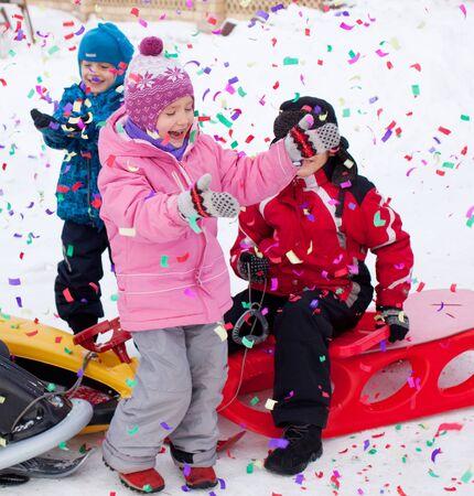 petard: Happy children in winter. petard