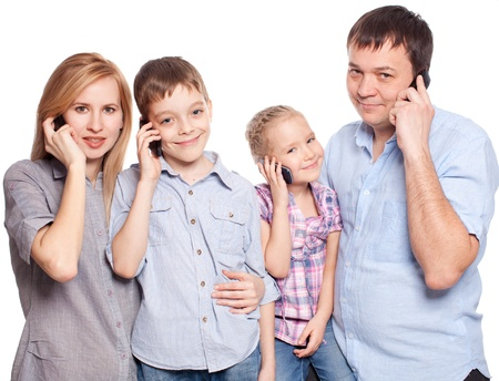 Family, speaking on the phone. Parents with children with mobile phone photo