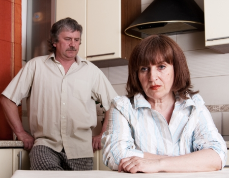 family problems: Conflict adults couple. Problems in family. Divorce between man and woman Stock Photo