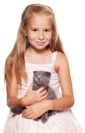 gray cat: Girl with lop-eared cat isolated on white Stock Photo