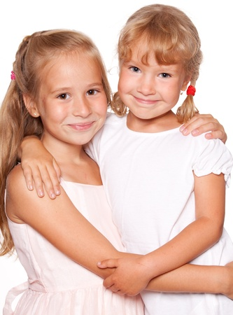 2 persons only: Happy kids isolated on white