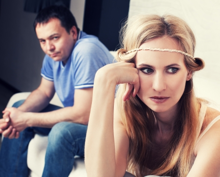 Conflict in couple  Problems in family  Sad man and woman