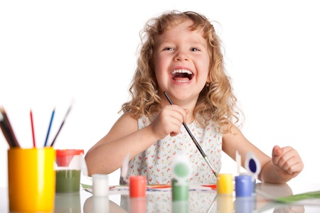 children painting: Littl child, drawing paint. Isolated on white Stock Photo