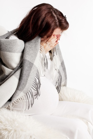 upset stomach: Stress at pregnant woman. Problems, sad, depression woman.