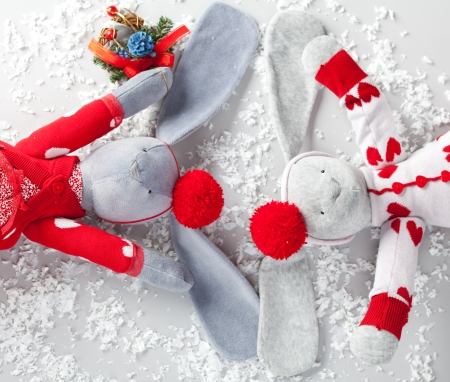 Happy christmas hares. Christmas Card Stock Photo - 25036179