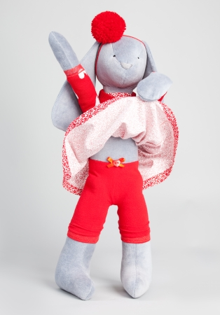 handwork: Soft toy rabbit. Handwork Stock Photo