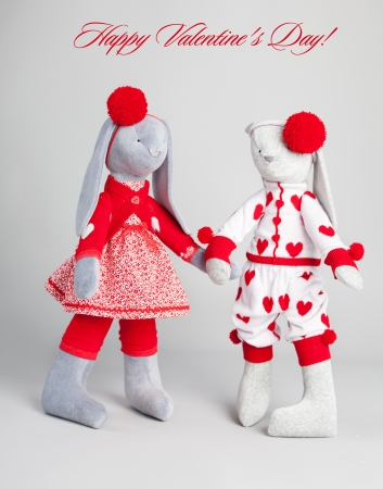 Soft toy rabbit. Valentine's card Stock Photo - 25036180