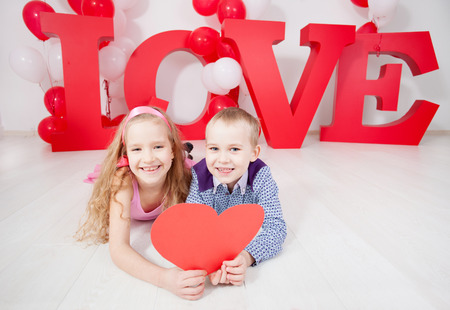 Childrens  love. Decoration for celebration. Valentines, mothers day or weddings photo