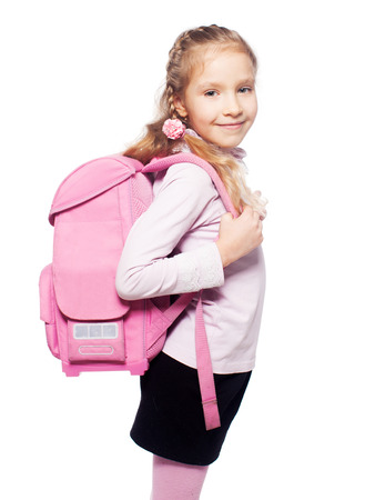 schoolbag: Child with schoolbag. Girl with school bag isolated on white Stock Photo
