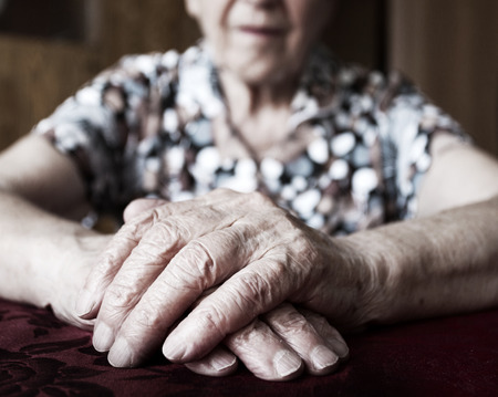 old woman: Old woman. Elderly female at home