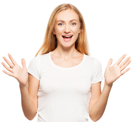 Woman at white background. Young smiling female isolated  photo