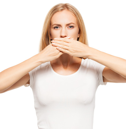 no shirt: Woman at white background. Young female covering her mouth with her hands