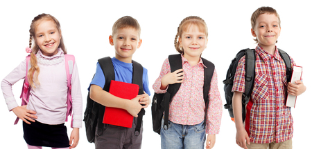 Children with backpack isolated on white photo