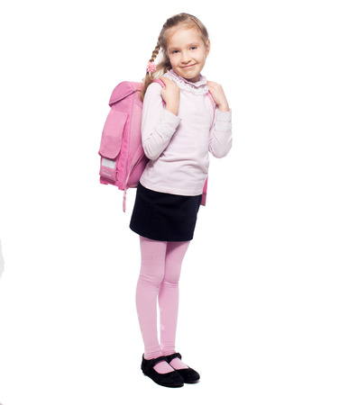 school bags: Child with schoolbag. Girl with school bag isolated on white Stock Photo