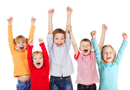 woman screaming: Happy children with their hands up isolated on white