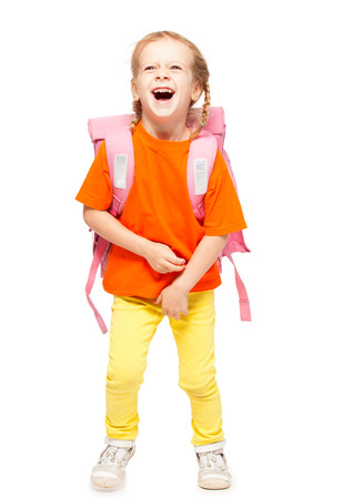 school bags: Little girl with schoolbag. Happy child on white Stock Photo