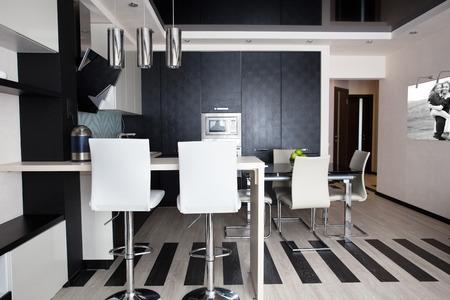 architectural lighting design: Interior kitchen. Modern kitchen Stock Photo