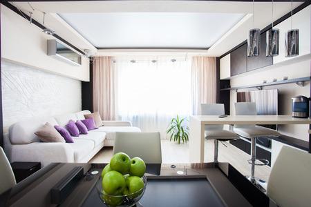 home design: Interior kitchen. Modern parlour. Hall