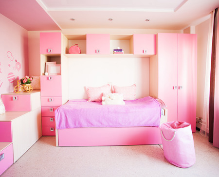 Interior of a child. Interior nursery for girl. Nobody Banco de Imagens