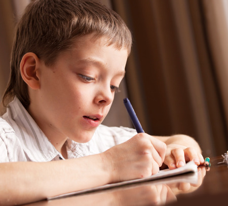 elementary age boys: Boy doing homework. Child education Stock Photo