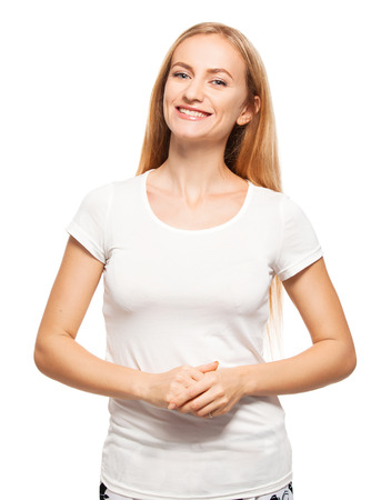 20 24 years: Woman at white background. Young female isolated