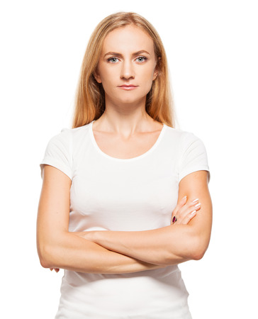 20 24: Woman at white background. Young female isolated