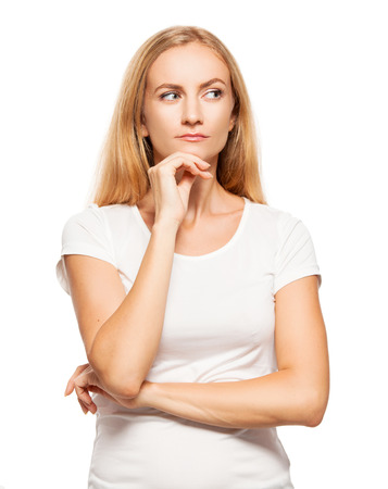 20 24 years: Woman at white background. Young female looking away Stock Photo