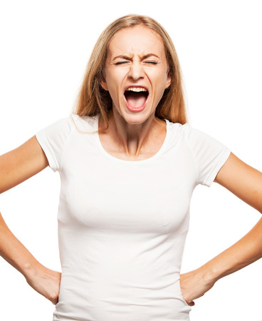 hysterical: Screaming woman isolated on white bacjground. Emotional stress, problems, frustration, hysterical, desperation