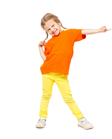 casual clothes: Little girl. Child on white background