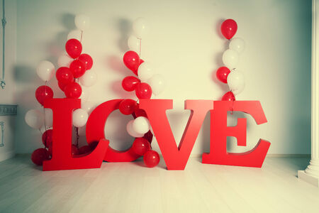 carved letters: Valentines day, weddings and other celebrations. Decoration background