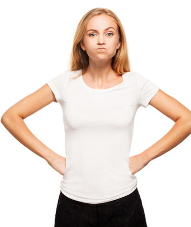 Hamming woman. Female puffed out his cheeks Stock Photo
