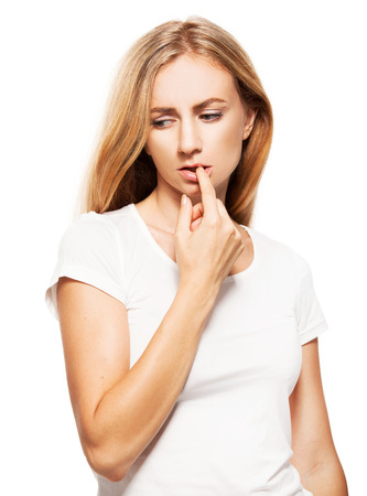 shy woman: Shy female. Sad woman isolated on white Stock Photo