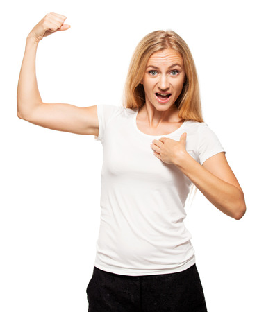 only the biceps: Strong woman. Female showing biceps Stock Photo