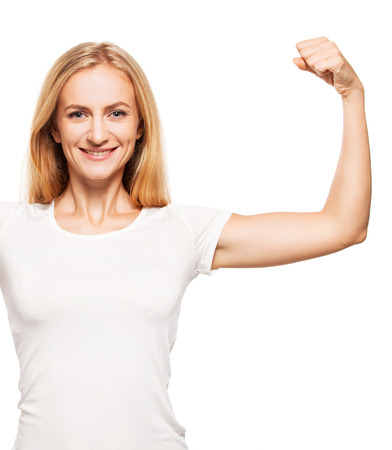 bicep: Strong woman. Female showing biceps Stock Photo