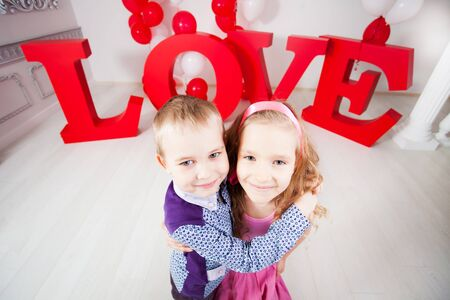 cartoon little girl: Childrens  love. Decoration for celebration. Valentines, mothers day or weddings Stock Photo