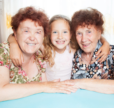 80 plus adult: Senior with girl. Generation. Elderly woman with great-grandchild Stock Photo