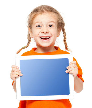 Happy child with tablet. Girl with placard isolated on white