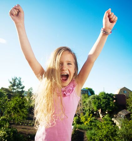 only girls: Happy smiling child at summer.